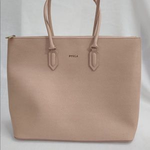 Gently used Furla handbag. Beige